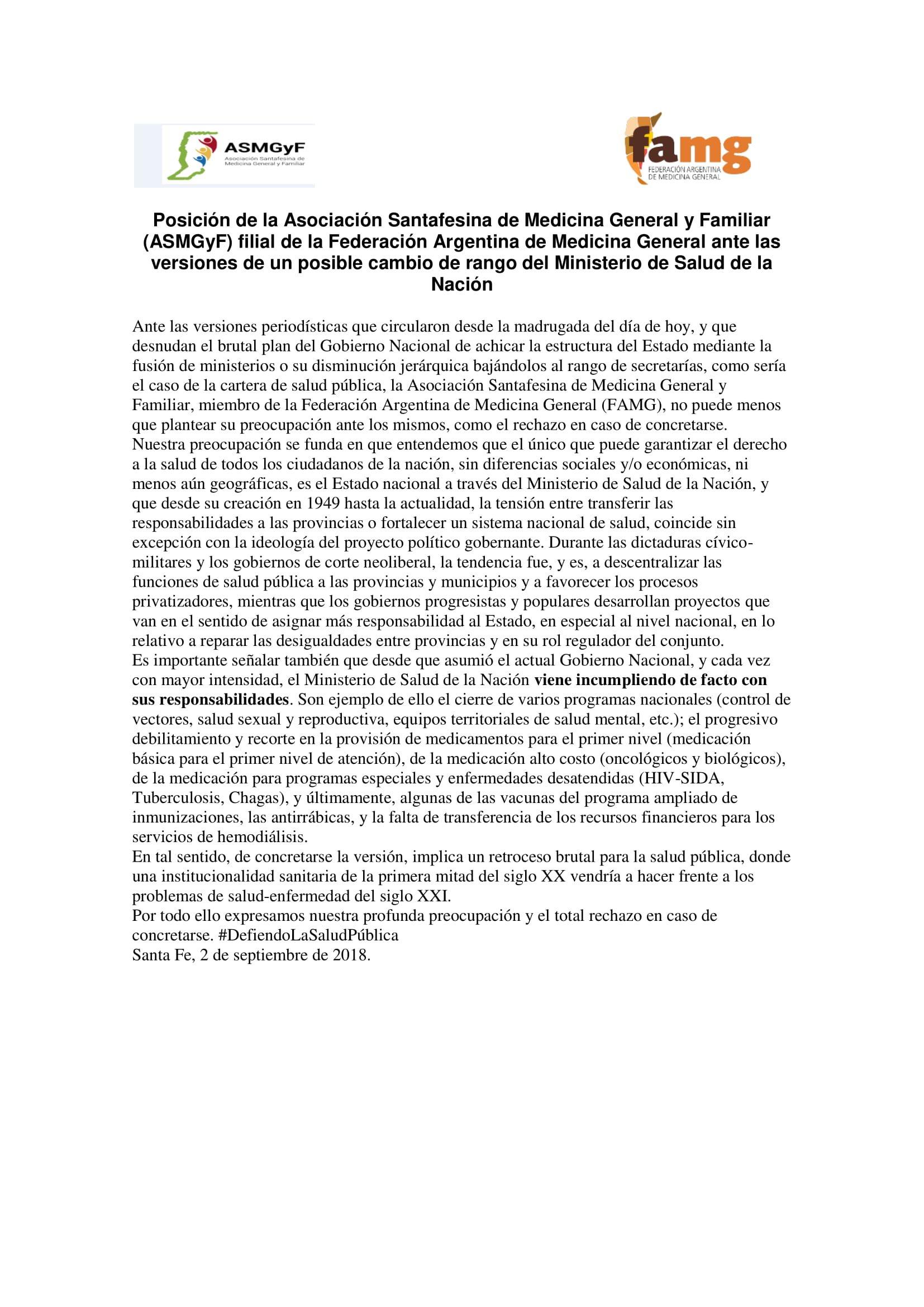 Posición de la Asociación Santafesina de Medicina General y Familiar2018-1